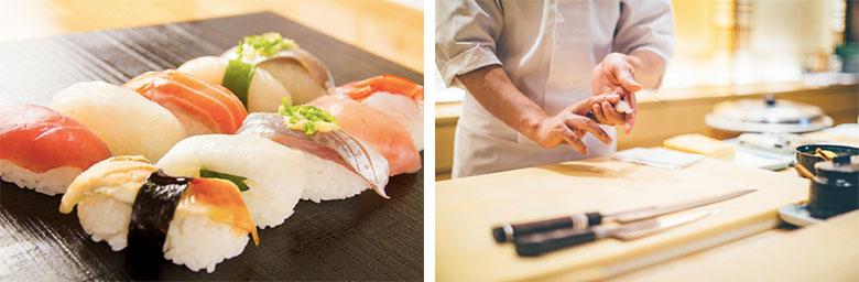 寿司と寿司を握る板前の写真